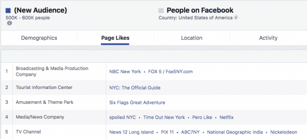 Screenshot of Facebook's Audience Insights dashboard