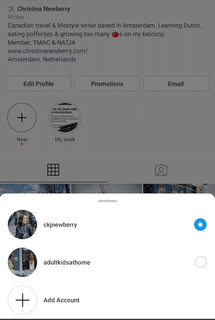Choix du compte Instagram