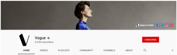 Bannière de la chaîne YouTube de Vogue