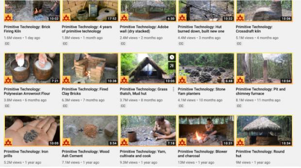 15 Video-Thumbnails auf Primitive Technologie YouTube-Seite