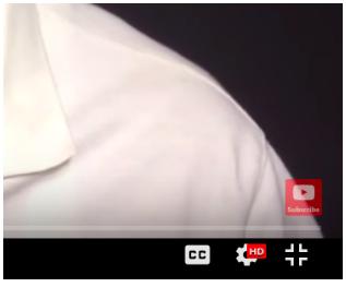 kleine YouTube abonnieren Taste, die in der unteren rechten Ecke des Videos erscheint