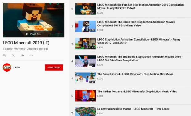 Playlist YouTube de LEGO