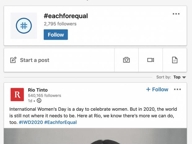 Rio Tinto post on LinkedIn using hashtag #eachforequal