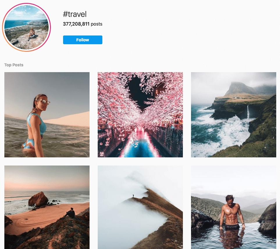 Der Hashtag #reisen in diesem Instagram-Post lockt neue Interessenten an, die dem Hashtag bereits folgen.