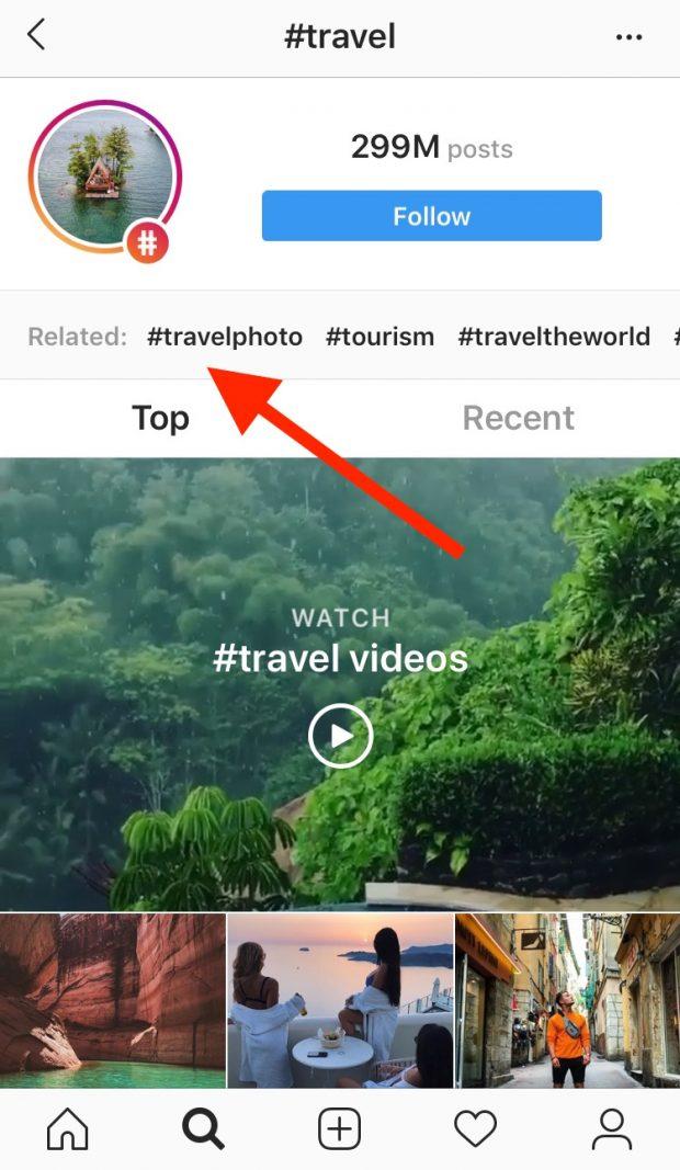page du hashtag « travel » sur Instagram, avec mise en avant des hashtags associés