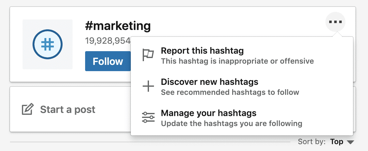 """Highlighting """"Discover new hashtags"""" for #marketing hashtag on LinkedIn"""