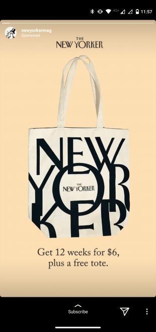 Publicité Instagram Stories par le magazine The New Yorker