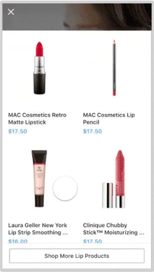 Balayage vers le haut sur une publicité Instagram Collection de Birch (4 produits de maquillage disponibles à l'achat présentés dans l'annonce)