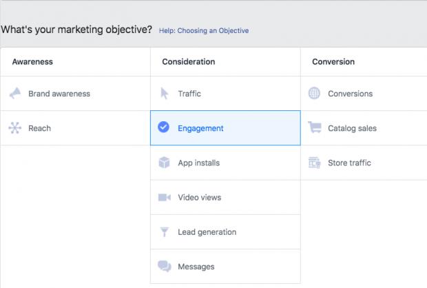 Option de choisir votre objectif publicitaire sur Facebook