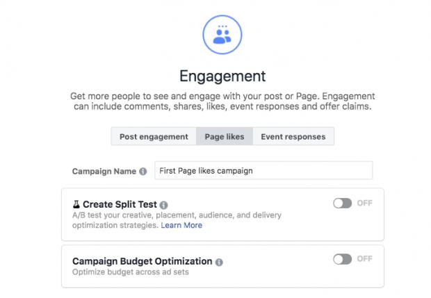 Choisir l'option d'engagement lors de la configuration d'une annonce Facebook