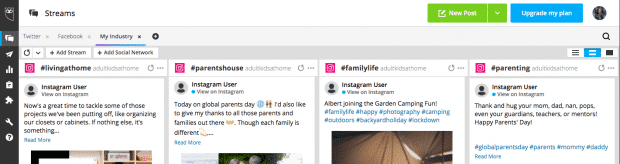 Screenshot showing how to search for multiple hashtags on Instagram in Hootsuite