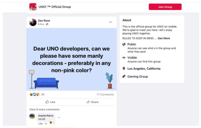 Requête d'un utilisateur pour des « décorations masculines » sur le groupe Facebook de Uno!