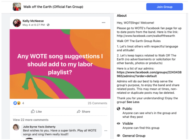 Des fans échangeant des suggestions de playlist sur le groupe Facebook de Walk Off the Earth