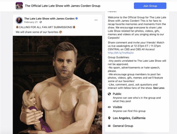 Aufruf zum Einreichen von Fan-Kunst in der Facebook-Gruppe der Late Late Show mit James Corden
