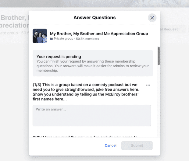Questionnaire d'adhésion au groupe Facebook My Brother, My Brother and Me