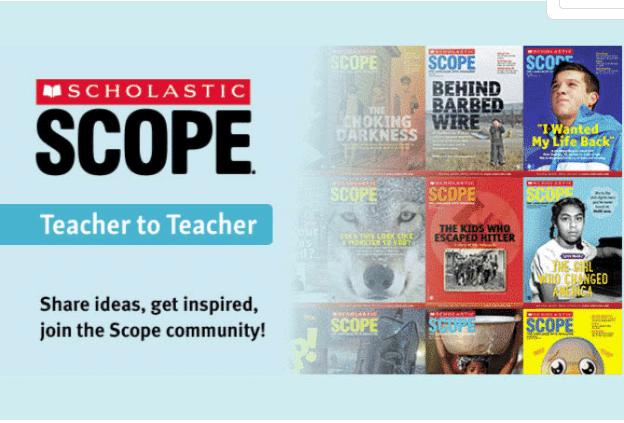 Publicité pour le blog Scholastic Scope avec un appel à l'action pour rejoindre la communauté Scholastic