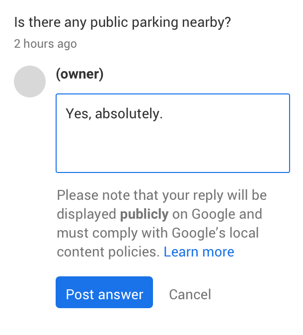 Beispiel für Kundenanfrage auf Google My Business