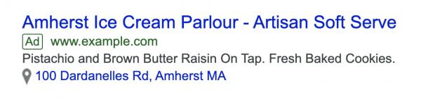 Google Ad mit lokaler Erweiterung