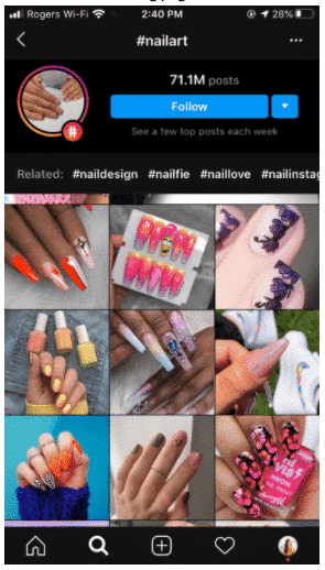 Page Instagram du hashtag #nailart