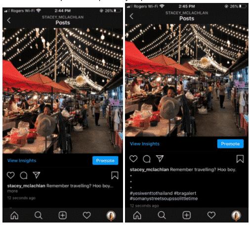 Hinzufügen von Perioden zu Instagram Kommentar