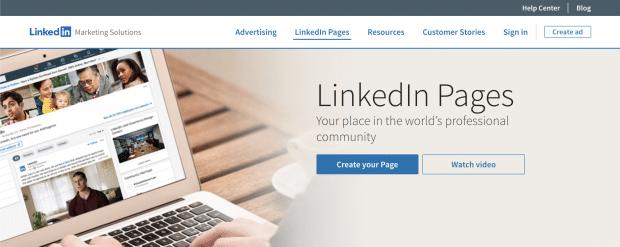 Der Bereich LinkedIn Pages auf der LinkedIn Marketing Solutions Seite