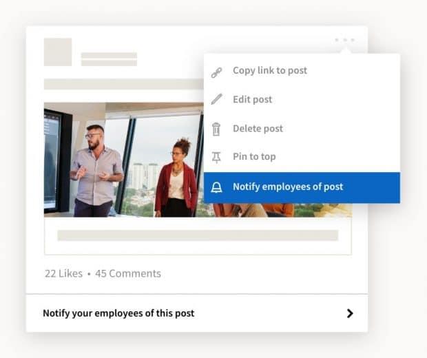 Benachrichtigen Sie Mitarbeiter auf LinkedIn zu einem neuen Post
