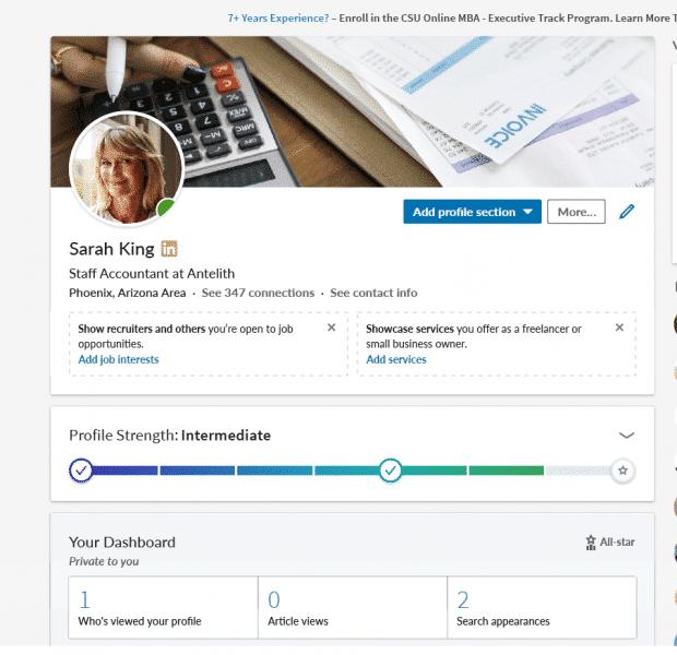 Open for Business Features auf einem LinkedIn-Profil