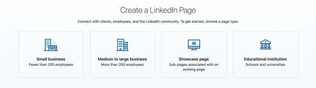 LinkedIn Page Kategorien