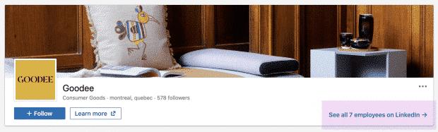 Tag: Goodee Banner auf der LinkedIn-Seite der Firma