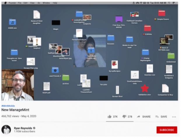 YouTube Ad von Mint Mobile: Ryan Reynolds präsentiert auf Zoom seinen Desktop