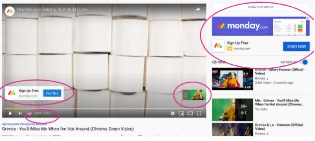 YouTube-Werbe-Overlays von Monday.com