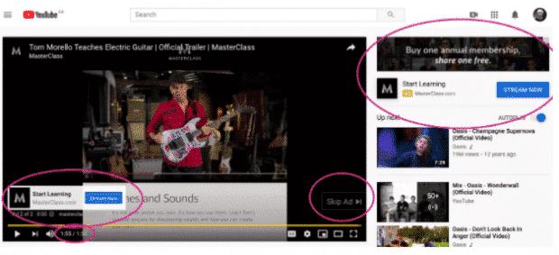 YouTube-Anzeige von MasterClass
