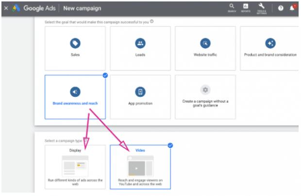 Dashboard für Google Ads, auf dem Display- und Videokampagne hervorgehoben sind