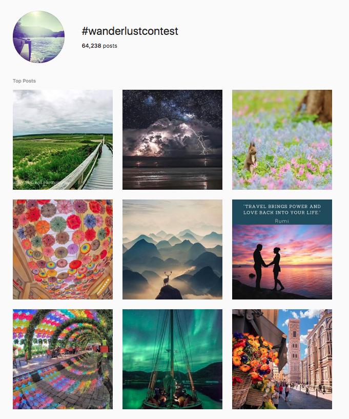 wanderlust campanha Instagram page