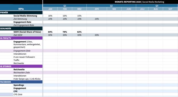 Der Screenshot zeigt das Social Media-Analytics-Template