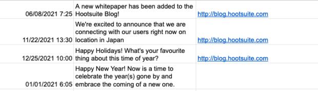 Der Screenshot zeigt Templates zum Massen-Upload über das Hootsuite Dashboard